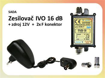 Zesilovač IVO DVB-16 / zdroj / 2x F konektor - výhodná sada