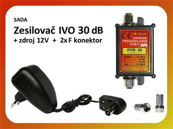Zesilovač IVO DVB-30 / zdroj / 2x F konektor - výhodná sada