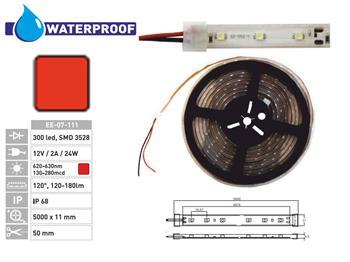 1m LED pásek 300 diod červený voděvzdorný 5m SMD3528 IP68