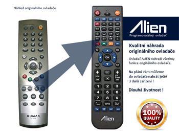 Dálkový ovladač ALIEN Humax RS 101N, 101P, 102P, 200P, 201P, 202, 210P - náhrada