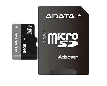 ADATA 64GB MicroSDXC Premier class 10 s adaptérem