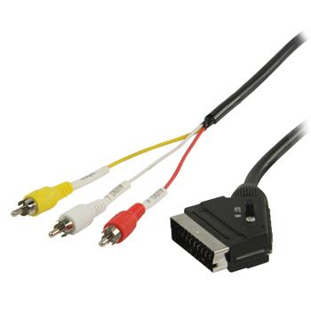 Kabel scart - 3x cinch s přepínačem - 2 m