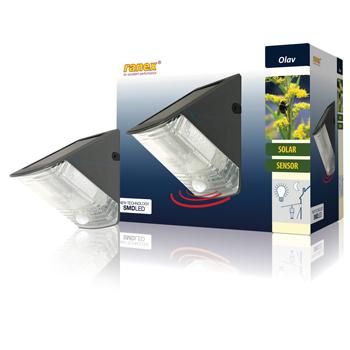 Nástěnné solární LED svítidlo s pohybovým čidlem