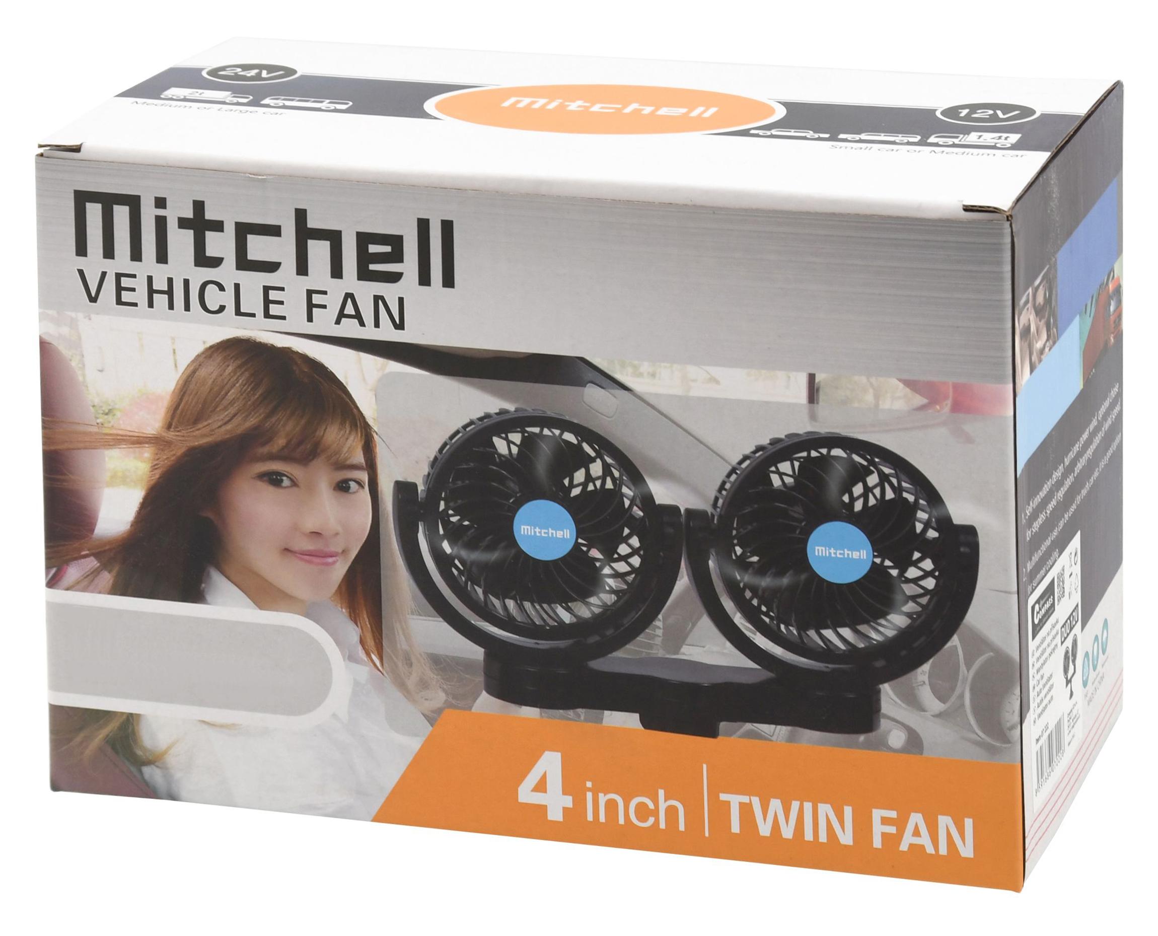f90b42282 Ventilátor MITCHELL DUO 2x108mm 12V na přísavku   AtosElektro